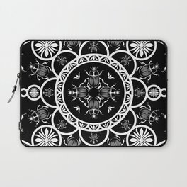 Scarab tile line pattern with black Background Laptop Sleeve