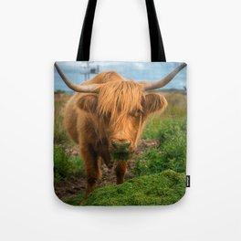 Highland Cow Eating Grass, Isle of Mull, Scotland, UK Tote Bag