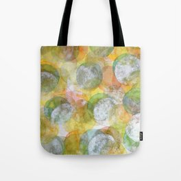 Silver Green Yellow Circles Tote Bag