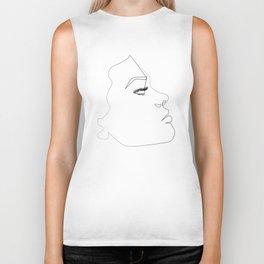 ''Profile Collection''- Woman One Line Face Profile Print Biker Tank