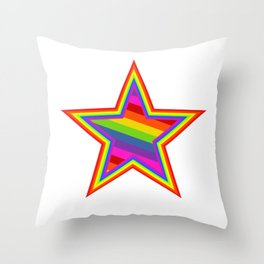 Rainbow Star Throw Pillow