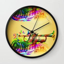 Summer music instruments design Wall Clock