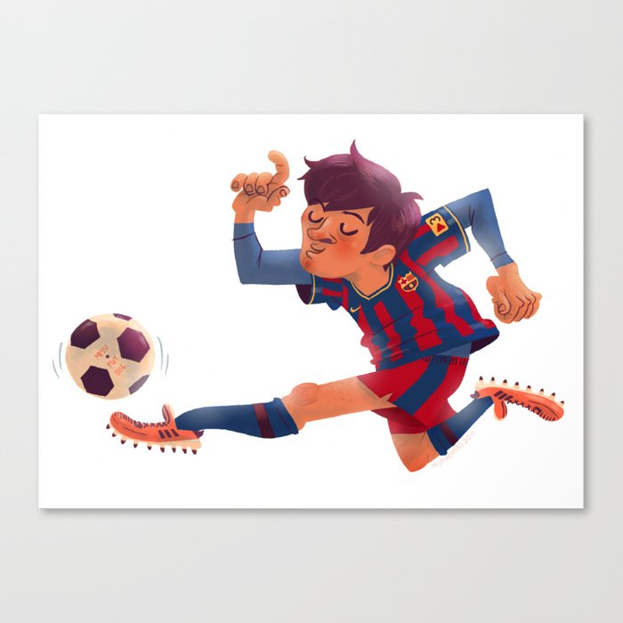 Lionel messi barcelona jersey canvas print