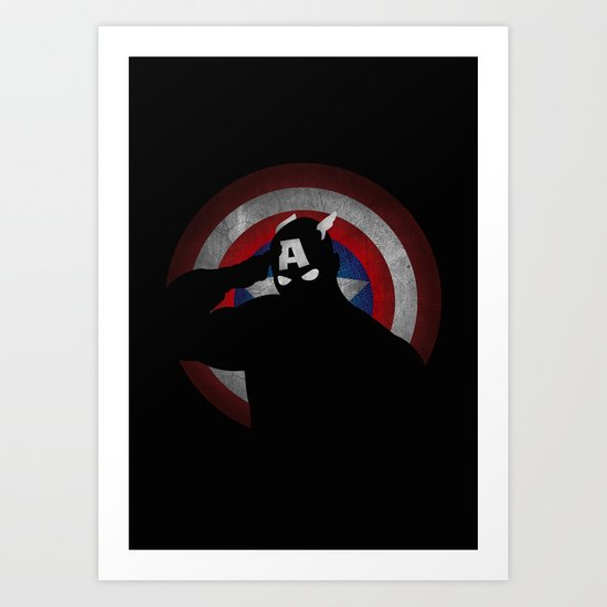 SuperHeroes Shadows : Captain America Art Print