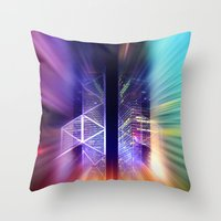 surrealism Throw Pillows featuring GOLDEN MOTION - Abstract Surrealism by INA FineArt