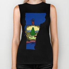 Vermont Map with State Flag Biker Tank