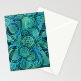 Gentle Teal and blue Circular Tribal  pattern Stationery Cards