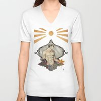 saturn V-neck T-shirts featuring Saturn by Audrey Nichols