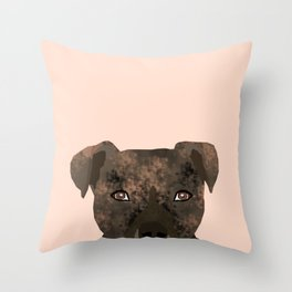 Pitbull brindle coat dog portrait cute gifts for dog lover with pitbulls Throw Pillow