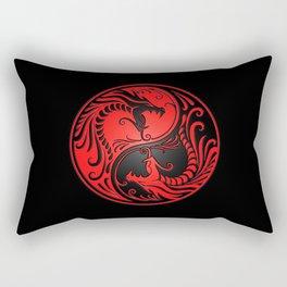 Yin Yang Dragons Red and Black Rectangular Pillow