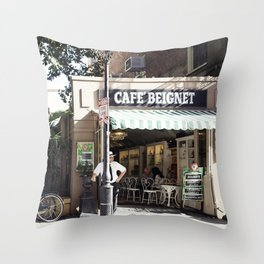 New Orleans Cafe Beignet Throw Pillow