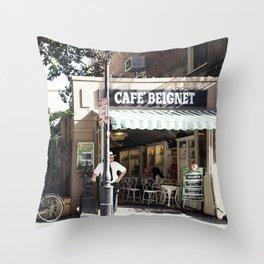 New Orleans Cafe Beignet Throw Pillow