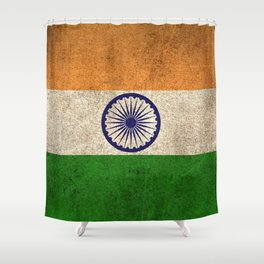 Old and Worn Distressed Vintage Flag of India Shower Curtain