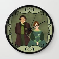 jane eyre Wall Clocks featuring String (Jane Eyre) by Rebecca Brown