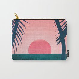 Tropical Sunset Scene - Pink and Emerald Palette Carry-All Pouch