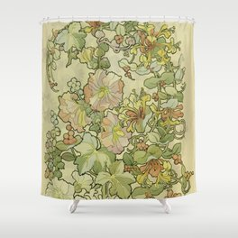 """Alphonse Mucha """"Printed textile design with hollyhocks in foreground"""" Shower Curtain"""