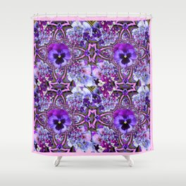 AWESOME GEOMETRIC LILAC PURPLE PANSIES GARDEN ART Shower Curtain