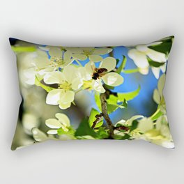 A bee and apple blossoms Rectangular Pillow