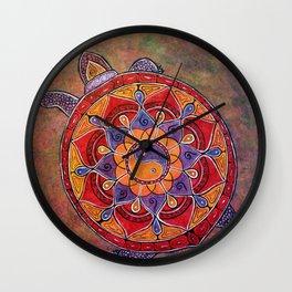 Autumn Turtle - yin yang mandala Wall Clock