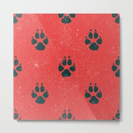 Distressed Tiger Paw Pattern Metal Print