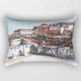 Old Athens, Watercolor Painting, Ruins Rectangular Pillow