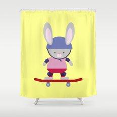 Bunny Skater Shower Curtain