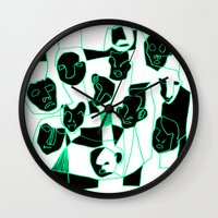 faces Wall Clocks featuring Faces by esther walter