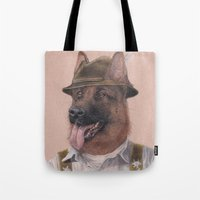 german Tote Bags featuring German Shepherd by Rachel Waterman