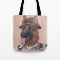 german shepherd Tote Bags featuring German Shepherd by Rachel Waterman