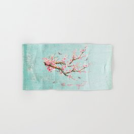 Its All Over Again - Romantic Spring Cherry Blossom Butterfly Illustration on Teal Watercolor Hand & Bath Towel