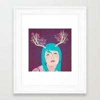 antlers Framed Art Prints featuring Antlers by karolindie