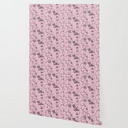 Minimal Black Line Cat Pattern Pink Wallpaper