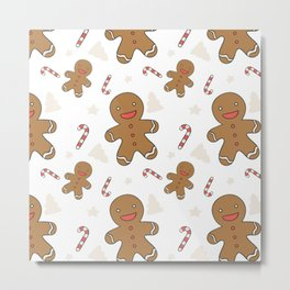 Cute gingerbread man seamless Metal Print