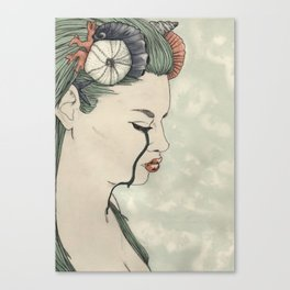 Mermaid out of Sea Canvas Print