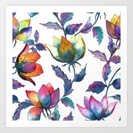 Magic fantasy flowers Art Print
