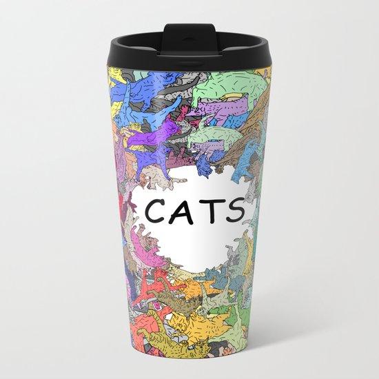 Colorful Rainbow Cats Metal Travel Mug