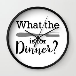 What the fork is for dinner, funny kitchen art prit Wall Clock