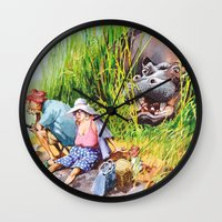 hippo Wall Clocks featuring hippo! by Rose Rigden