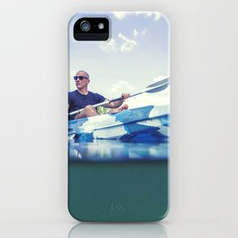 Young Man Kayaking on Lake, Kayaking Underwater View, Split Shot. iPhone Case
