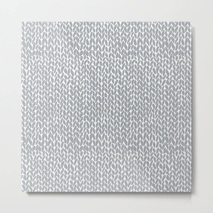 Hand Knit Light Grey Metal Print