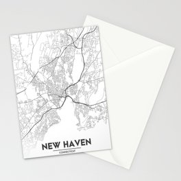 Minimal City Maps - Map Of New Haven, Connecticut, United States Stationery Cards