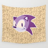 sonic Wall Tapestries featuring Sonic the hedgehog by Kuki
