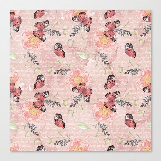 Flowers & butterflies #1 Canvas Print