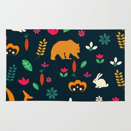 Cute little animals among flowers Rug
