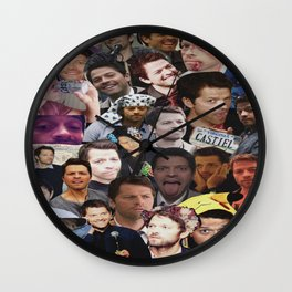 Misha Collins collage Wall Clock