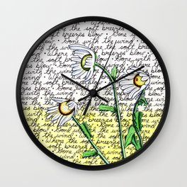 Daisies in the Wind Wall Clock