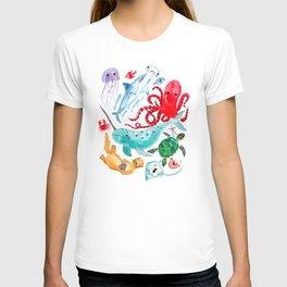 Ocean Creatures - Sea Animals Characters - Watercolor T-shirt