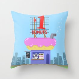 Snack Shacks #1 - Number One Donuts Throw Pillow