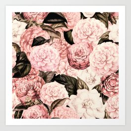 Vintage & Shabby Chic Pink Floral camellia flowers watercolor pattern Art Print