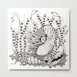 Zentangle Nautilus in the Ocean Illustration Metal Print